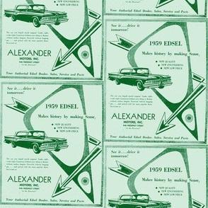 1959 Edsel arrows ad from Alexander Motors in greens