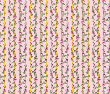 Hibiscus Stripes - Pink fabric by siya on Spoonflower - custom fabric