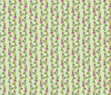 Hibiscus Stripes - Green fabric by siya on Spoonflower - custom fabric