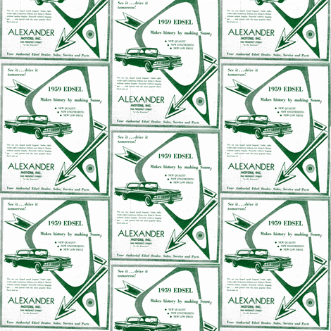 Alexander_Motors_1959 Edsel advertisement half drop fabric by edsel2084 on Spoonflower - custom fabric