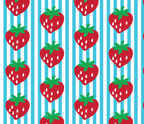 strawberry stripe james (aqua alt) fabric by mossbadger on Spoonflower - custom fabric