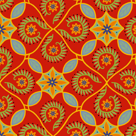Flor Feliz - Smaller Repeat fabric by cksstudio80 on Spoonflower - custom fabric