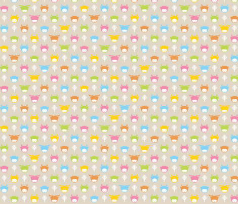 Kawaii Forest fabric by tinornament on Spoonflower - custom fabric