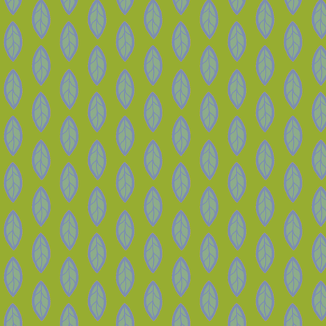 Blue Leaf on Green fabric by cksstudio80 on Spoonflower - custom fabric
