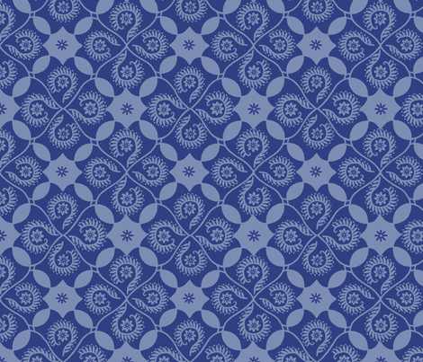 Flor Feliz Blue Damask fabric by cksstudio80 on Spoonflower - custom fabric