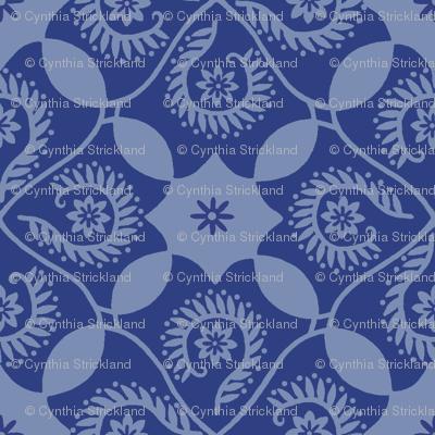 Flor Feliz Blue Damask