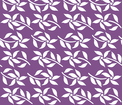 Four_Flowers_white-DKREDVIOLET fabric by mina on Spoonflower - custom fabric