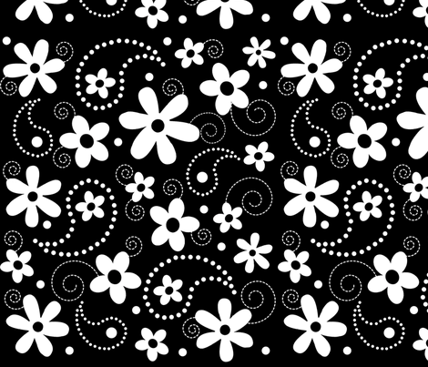 Paisley Abloom White & Black fabric by jpdesigns on Spoonflower - custom fabric