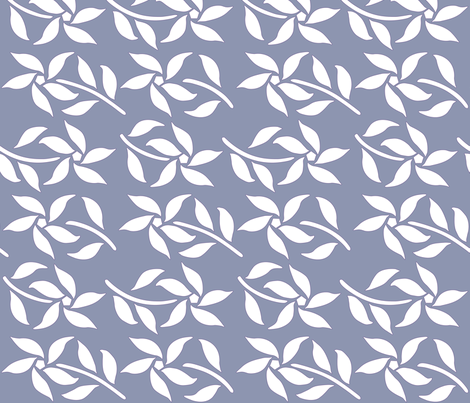 Four_Flowers_white-MED-DK-GREY-PERIWINKLE fabric by mina on Spoonflower - custom fabric