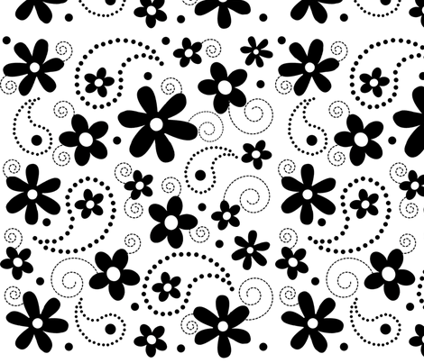 Paisley Abloom Black & White fabric by jpdesigns on Spoonflower - custom fabric