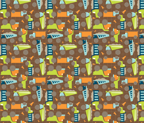 Dump Trucks - In The Land of Boys fabric by aimeemarie on Spoonflower - custom fabric