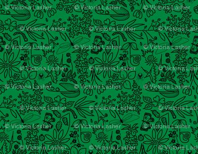 A Crazy Garden: black on green (please zoom)