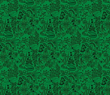 A Crazy Garden: black on green (please zoom) fabric by victorialasher on Spoonflower - custom fabric