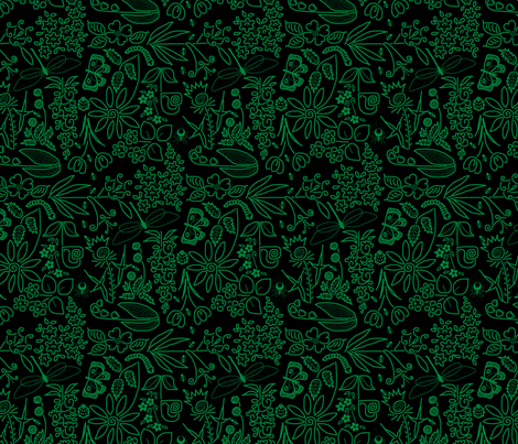 A Crazy Garden: green on black (please zoom) fabric by victorialasher on Spoonflower - custom fabric