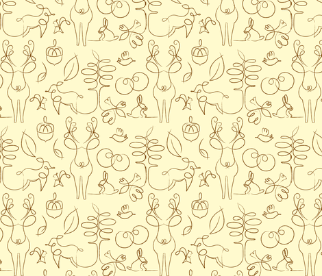 Woodline Creatures, on Beige fabric by tinornament on Spoonflower - custom fabric
