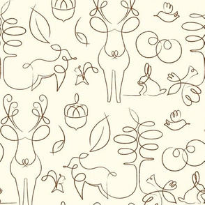 Woodline Creatures, on Beige