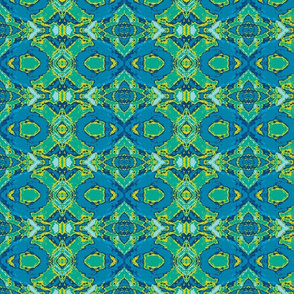 French Provencal Print in Blue and Green