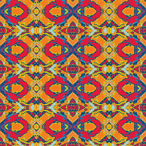 French Provencal Print in Yellow, Red and Orange