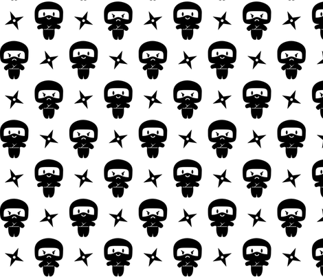 Happy Grumpy Ninjas fabric by petitspixels on Spoonflower - custom fabric