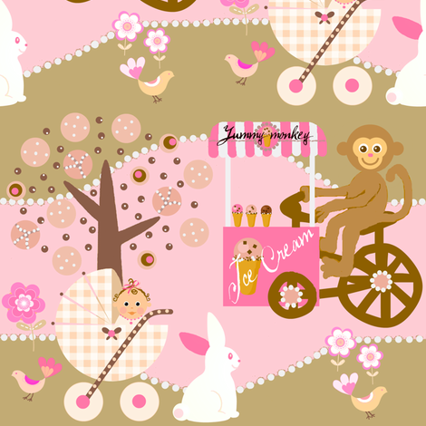 Yummy monkey fabric by paragonstudios on Spoonflower - custom fabric
