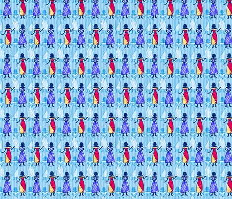 Fashionable Ladies - Blue fabric by siya on Spoonflower - custom fabric