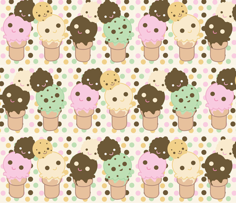 Chibi Ice Cream Cones fabric by kiwicuties on Spoonflower - custom fabric