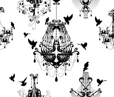 Chandeliers Take Flight fabric by rachelmense on Spoonflower - custom fabric