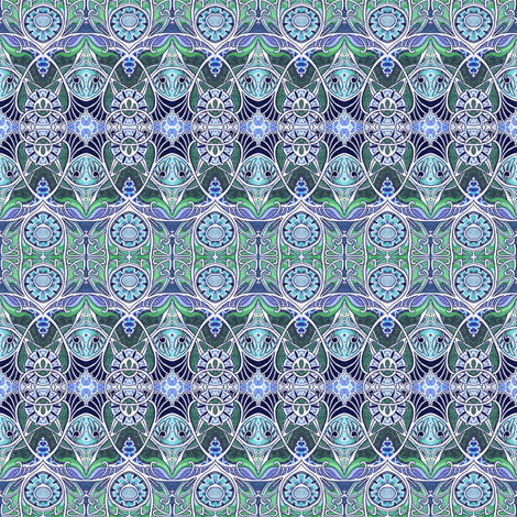 Victorian Gothic (blue/green) fabric by edsel2084 on Spoonflower - custom fabric