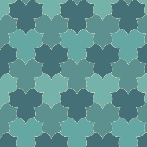 Small_Tessellating_Trilliums_minagreen-bluegreens fabric by mina on Spoonflower - custom fabric
