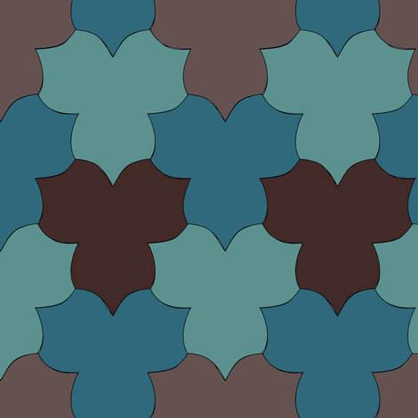 Large_Tessellating_Trilliums_minagreen-dkteal-BROWN fabric by mina on Spoonflower - custom fabric