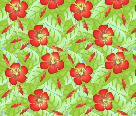 ©2011  Hibiscus fabric by glimmericks on Spoonflower - custom fabric