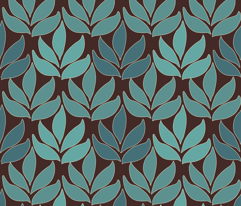 Cloisonne-LG-leaf-texture-greens-2-DARKBROWN fabric by mina on Spoonflower - custom fabric