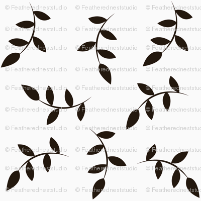 Black leaves on white