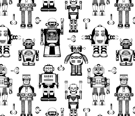 Tin_Robots_on_white fabric by cjldesigns on Spoonflower - custom fabric