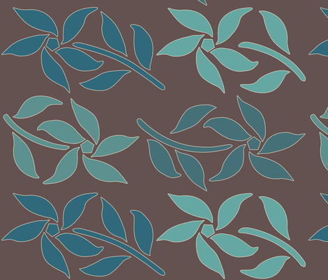 Cloisonne_LG_4flowers-4bluegreens-BROWN fabric by mina on Spoonflower - custom fabric