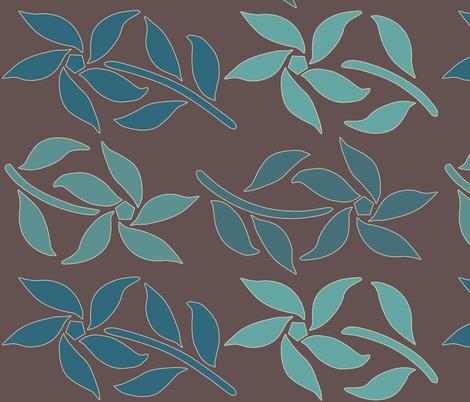 Cloisonne_LG_4flowers-4bluegreens-BROWN fabric by mina on Spoonflower - custom fabric
