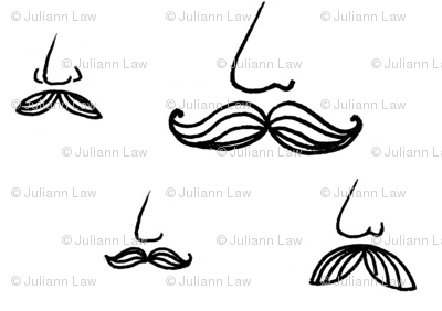 moustaches on white