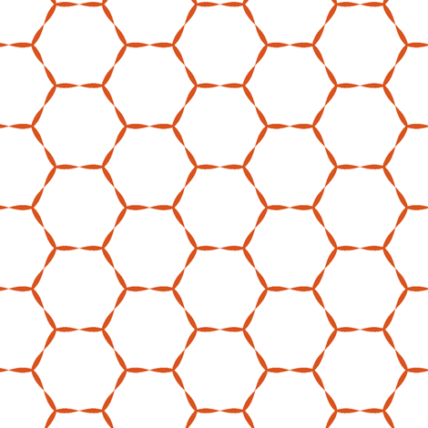 Honey Hive in tangerine  fabric by lana_kole on Spoonflower - custom fabric