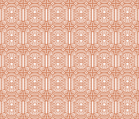 Tribal Peacock - in Coral fabric by katphillipsdesigns on Spoonflower - custom fabric