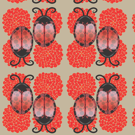 Lady Bugs on Light  Brown background fabric by bbsforbabies on Spoonflower - custom fabric