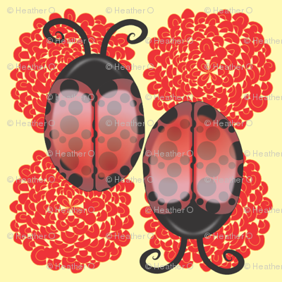 Lady Bugs on Light Yellow background