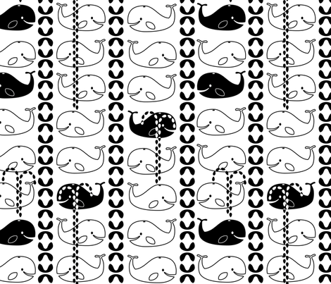 Whaley Tails in black and white fabric by circlesandsticks on Spoonflower - custom fabric