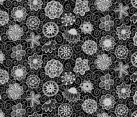 Paper_Flowers_Black fabric by beebumble on Spoonflower - custom fabric