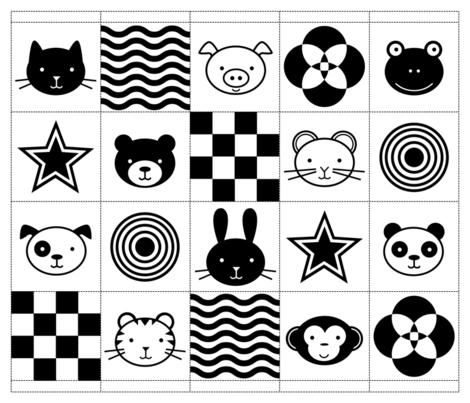 Black & White Baby Animals fabric by jenimp on Spoonflower - custom fabric