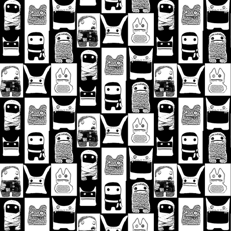black_and_white_monsters_fabric fabric by michowl on Spoonflower - custom fabric