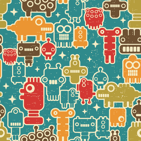 Robots on blue.  fabric by panova on Spoonflower - custom fabric