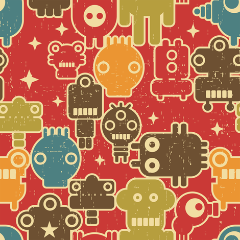 Robots on red.  fabric by panova on Spoonflower - custom fabric