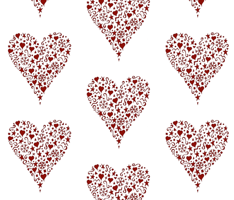 ornate_heart_red fabric by karenmayo on Spoonflower - custom fabric
