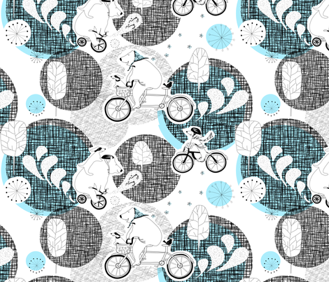"BIKE DAY in ""OCEAN"" fabric by trcreative on Spoonflower - custom fabric"