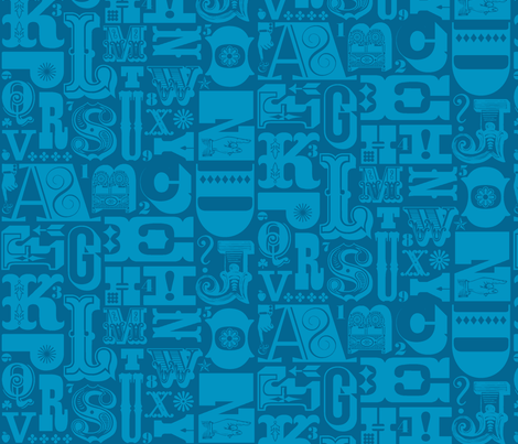 Woodtype Alphabet - Mono Blue
